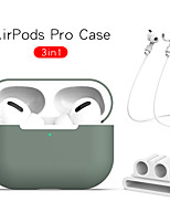 cheap -3 in 1 AirPods Pro Earphone Protection Case Solid Colored Soft Silicone Headphone Cover