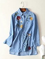 cheap -Women's Shirt Floral Embroidered Print Shirt Collar Tops Cotton Basic Fall Blue Light Blue