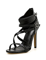 cheap -Women's Sandals Summer Stiletto Heel Peep Toe Daily Solid Colored PU Black