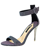 cheap -Women's Heels Spring / Summer Pumps Open Toe Sexy Party & Evening Buckle / Sequin Solid Colored Elastic Fabric Black / Gold / Green
