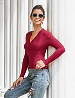 cheap -Women's Blouse Solid Colored V Neck Tops Cotton Fall Winter Wine Orange Khaki