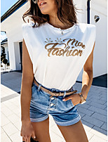 cheap -Women's T-shirt Solid Colored Print Round Neck Tops Basic Summer White