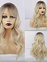 cheap -Synthetic Wig Body Wave With Bangs Wig Long Creamy-white Synthetic Hair 20 inch Women's Fashionable Design Life Women White