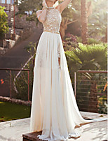 cheap -A-Line Beautiful Back Sexy Engagement Formal Evening Dress Halter Neck Sleeveless Floor Length Chiffon Lace with Beading Split 2020