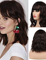 cheap -Synthetic Wig Curly With Bangs Wig Medium Length Brown Synthetic Hair 12 inch Women's Party New Arrival Fashion Brown