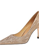 cheap -Women's Heels Summer Stiletto Heel Pointed Toe Daily Solid Colored PU Champagne / Silver
