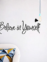 cheap -Believe Words Quotes Wall Stickers Decorative Wall Stickers PVC Home Decoration Wall Decal Wall Decoration 1pc