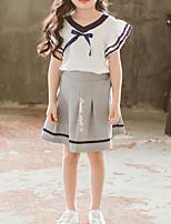cheap -Kids Girls' Basic Solid Colored Short Sleeve Clothing Set White