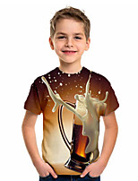 cheap -Kids Boys' Sports & Outdoors Basic Holiday Geometric Print Short Sleeve Tee Brown
