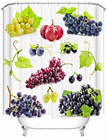 cheap -Fresh Grapes Digital Print Waterproof Fabric Shower Curtain For Bathroom Home Decor Covered Bathtub Curtains Liner Includes With Hooks