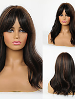 cheap -Synthetic Wig Natural Wave With Bangs Wig Long Dark Brown Synthetic Hair 20 inch Women's Fashionable Design Life Women Dark Brown