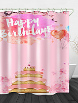 cheap -Birthday Cake Digital Print Waterproof Fabric Shower Curtain For Bathroom Home Decor Covered Bathtub Curtains Liner Includes With Hooks