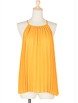 cheap -Women's Blouse Solid Colored Halter Neck Tops Summer Yellow