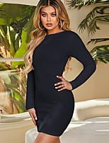 cheap -Women's Sheath Dress Short Mini Dress - Long Sleeve Solid Color Summer Elegant 2020 Black S M L