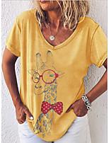 cheap -Women's T-shirt Animal Tops V Neck Daily Purple Khaki Light Green S M L XL 2XL 3XL
