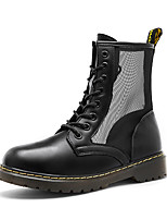 cheap -Women's Boots Summer / Fall Flat Heel Round Toe British Roman Shoes Daily Outdoor Lace-up Leather / Mesh Mid-Calf Boots Black