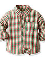 cheap -Kids Toddler Boys' Basic Plaid Long Sleeve Shirt Light Green