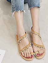 cheap -Women's Sandals Roman Shoes / Gladiator Sandals Summer Flat Heel Open Toe Daily PU Brown