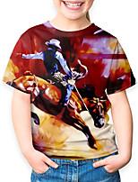 cheap -Kids Boys' Basic Horse Animal Print Short Sleeve Tee Red