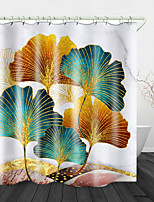 cheap -Ginkgo Biloba Digital Print Waterproof Fabric Shower Curtain for Bathroom Home Decor Covered Bathtub Curtains Liner Includes with Hooks