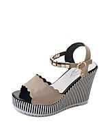 cheap -Women's Sandals Summer Wedge Heel Peep Toe Daily PU Black / Beige