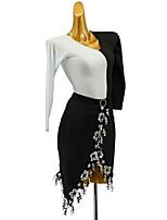 cheap -Latin Dance Dress Sash / Ribbon Appliques Split Joint Girls' Training Daily Wear Long Sleeve Cotton