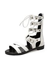 cheap -Women's Sandals Roman Shoes / Gladiator Sandals Summer Flat Heel Open Toe Daily PU White / Black