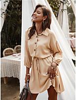 cheap -Women's Sheath Dress Short Mini Dress - 3/4 Length Sleeve Solid Color Spring Summer Casual Daily 2020 Black Army Green Khaki S M L XL