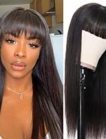 cheap -Remy Human Hair Wig Short Straight Neat Bang Natural Black Party Women Easy dressing Machine Made Capless Brazilian Hair Malaysian Hair Women's Girls' Natural Black 20 inch