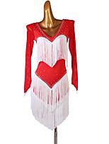 cheap -Latin Dance Dress Tassel Split Joint Women's Training Long Sleeve High Spandex