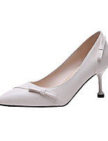cheap -Women's Heels Summer Kitten Heel Pointed Toe Minimalism Daily Solid Colored PU Black / Beige