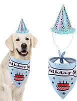 cheap -Dog Cat Bandanas & Hats Dog Bandana & Dog Hat Dog Bandana Cartoon Letter & Number Party Cute Christmas Party Dog Clothes Adjustable Blue Pink Costume Cotton Polyster / Birthday / Birthday