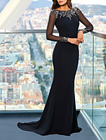 cheap -Mermaid / Trumpet Beautiful Back Sexy Engagement Formal Evening Dress Jewel Neck Long Sleeve Sweep / Brush Train Spandex with Sleek Appliques 2020 / Illusion Sleeve