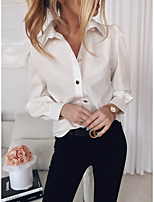 cheap -Women's Blouse Shirt Solid Colored Shirt Collar Tops Basic Fall White Black Khaki