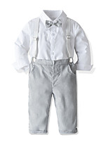 cheap -Kids Toddler Boys' Basic Street chic Birthday Party Party & Evening Solid Colored Long Sleeve Regular Regular Clothing Set White