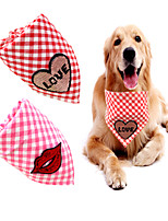 cheap -Dog Cat Bandanas & Hats Dog Bandana Dog Bibs Scarf Plaid / Check Letter & Number Party Cute Wedding Party Dog Clothes Adjustable Pink Costume Fabric