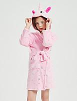 cheap -Kid's Kigurumi Pajamas Bathrobe Oodie Unicorn Flying Horse Onesie Pajamas Flannel Fabric Pink Cosplay For Boys and Girls Animal Sleepwear Cartoon Festival / Holiday Costumes / Bath Robe