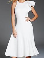 cheap -Back To School A-Line Elegant Minimalist Homecoming Cocktail Party Dress Jewel Neck Sleeveless Tea Length Stretch Satin with Sleek 2020 Hoco Dress