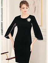 cheap -Sheath / Column Elegant Minimalist Wedding Guest Cocktail Party Dress Jewel Neck 3/4 Length Sleeve Short / Mini Spandex with Pearls 2020