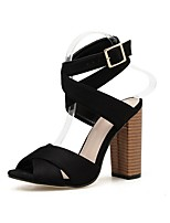 cheap -Women's Sandals Summer Stiletto Heel Open Toe Daily Solid Colored PU Black