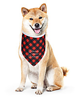 cheap -Dog Cat Bandanas & Hats Dog Bandana Dog Bibs Scarf Plaid / Check Letter & Number Casual / Sporty Cute Party Sports Dog Clothes Adjustable Red Costume Cotton Polyster