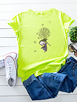 cheap -Women's T-shirt Floral Cartoon Tops - Print Round Neck 100% Cotton Basic Daily Summer Wine White Yellow S M L XL 2XL 3XL 4XL 5XL
