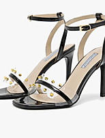 cheap -Women's Sandals Clear / Transparent / PVC Summer Stiletto Heel Square Toe Daily Solid Colored Tissage Volant White / Black
