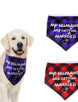 cheap -Dog Cat Bandanas & Hats Dog Bandana Dog Bibs Scarf Plaid / Check Letter & Number Casual / Sporty Cute Christmas Wedding Dog Clothes Adjustable Costume Cotton Polyster M