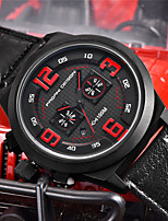 cheap -PAGANI Men's Sport Watch Quartz Modern Style Sporty Casual Water Resistant / Waterproof Leather Black Analog - Red Orange / Calendar / date / day / Chronograph