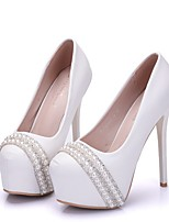 cheap -Women's Heels Summer Stiletto Heel Round Toe Daily Solid Colored PU White / Red