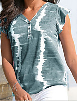 cheap -Women's T-shirt Tie Dye Tops V Neck Daily Summer Wine Blue Purple S M L XL 2XL 3XL 4XL 5XL