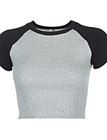 cheap -Women's T shirt Tee / T-shirt Black Blue Pink Color Block Crop Top Crew Neck Spandex Color Block Cute Sport Athleisure T Shirt Short Sleeves Lightweight Breathable Soft Yoga Exercise & Fitness