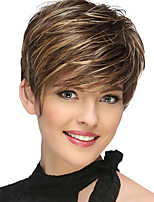 cheap -Synthetic Wig Natural Straight Asymmetrical Wig Short Strawberry Blonde / Light Blonde Synthetic Hair 6 inch Women's Party Brown