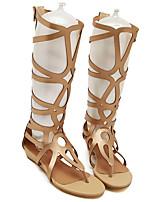 cheap -Women's Sandals Summer Flat Heel Open Toe Daily PU Black / Gold
